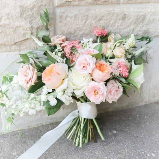 Peach Pink Blush Bride Bridal Bouquet Fresh