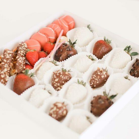 Chocolate Covered Strawberry and Macaron Box Sweets Treat Box Toronto